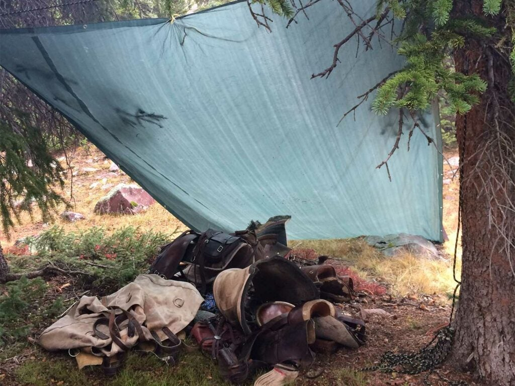 tarp covering camping and backcountry gear