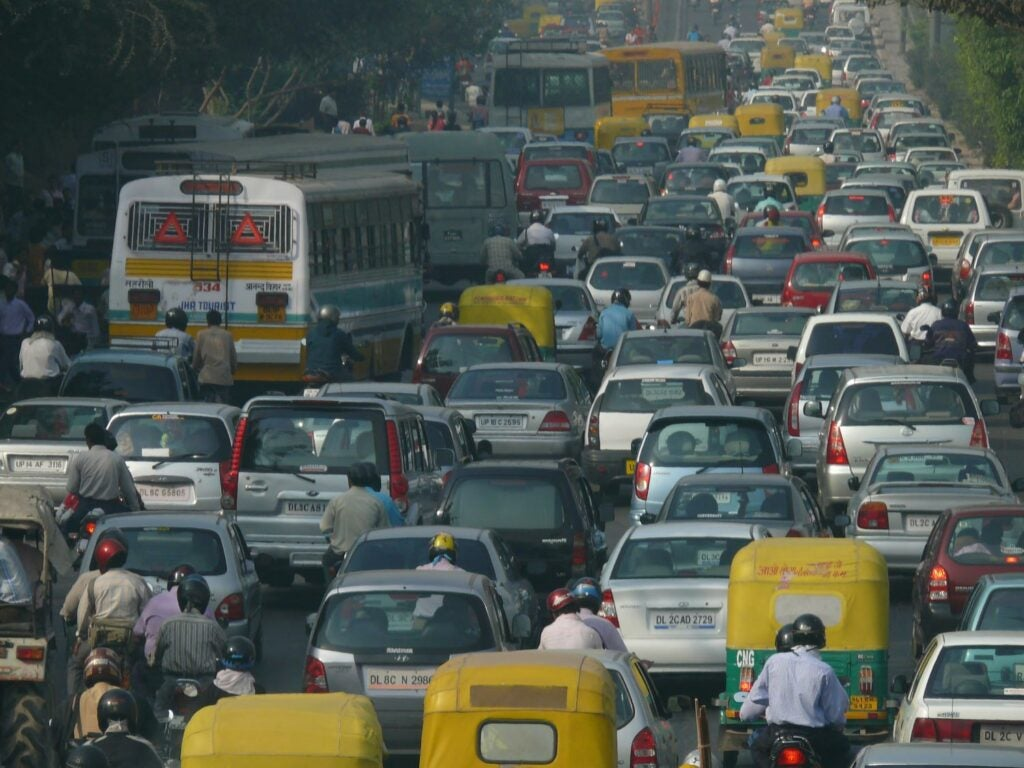 Traffic jam in New Delhi