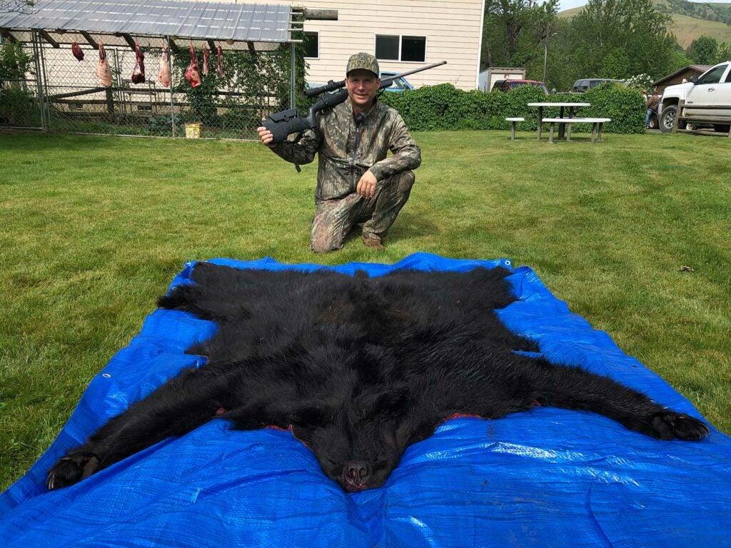 a bear hide on a blue tarp