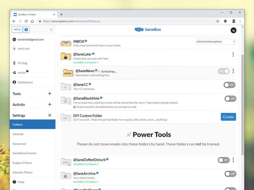 Screenshot of SaneBox app