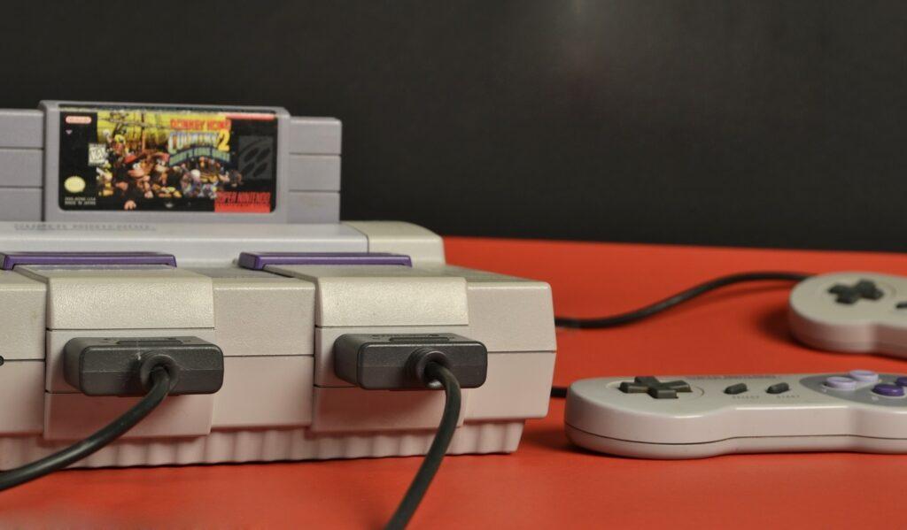 SupeNintendo console with Donkey Kong cartridge