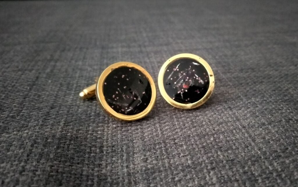 cufflinks made with chocolate wrappers