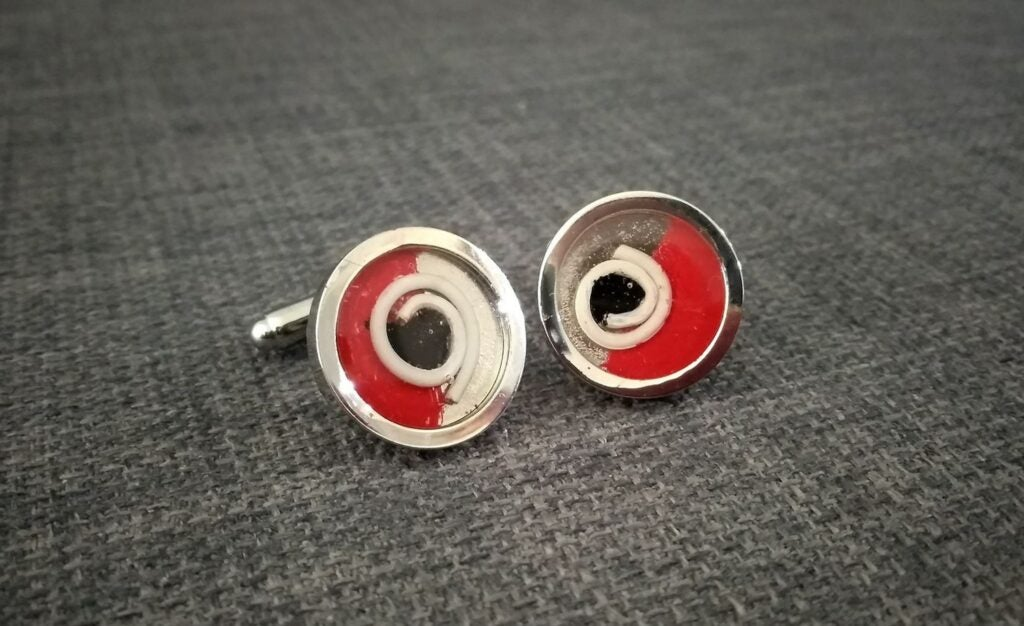 cufflinks made from mobile earphone cables
