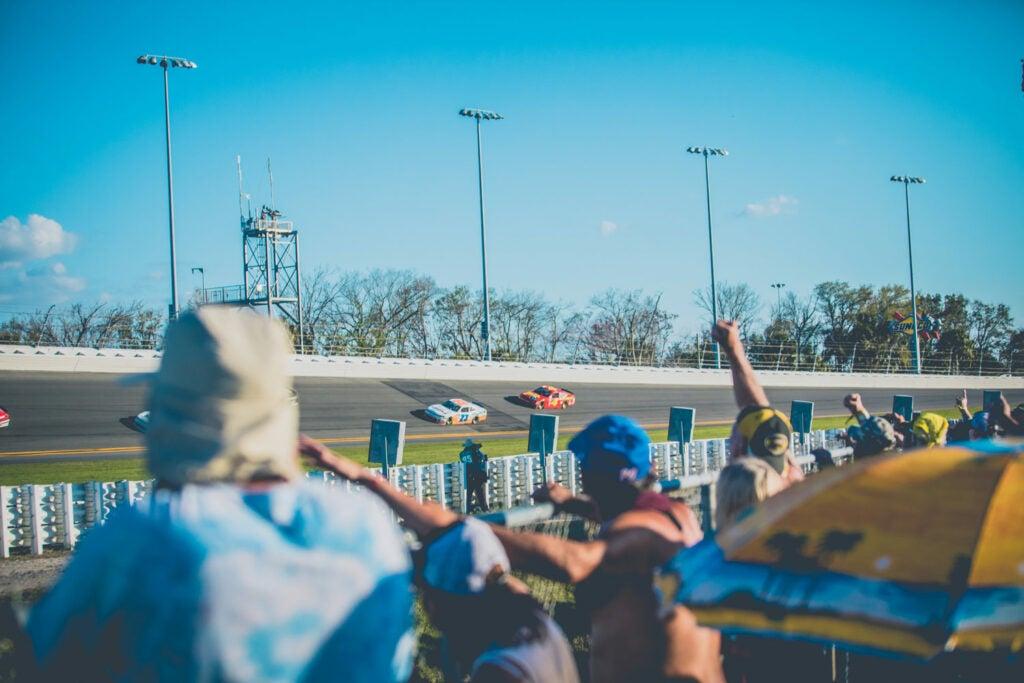 crowd watching NASCAR race