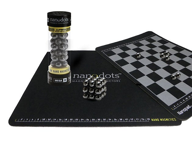 Create your own board game using magnetic spheres with this Nanodots kit