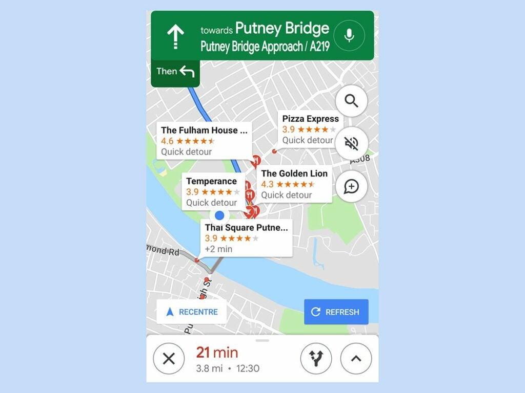 Google Maps stops along route