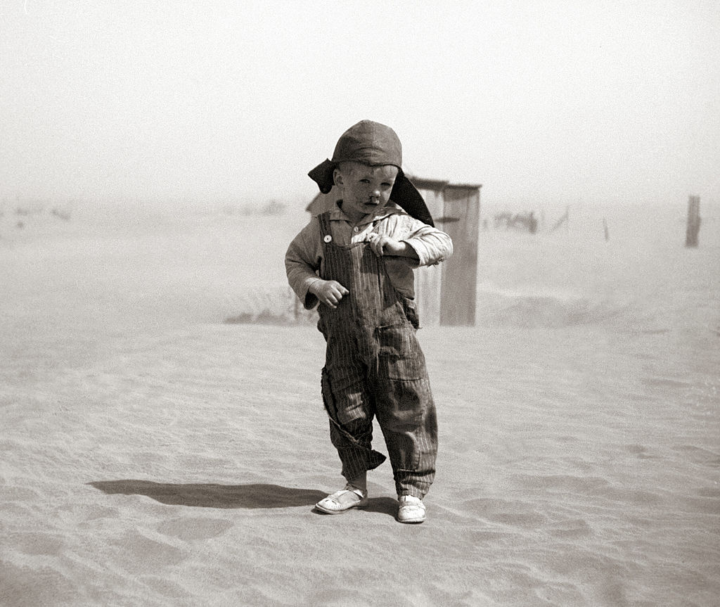 a small child stands in a dessert