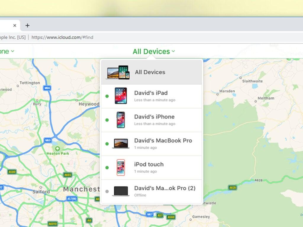 Find my iphone screenshot