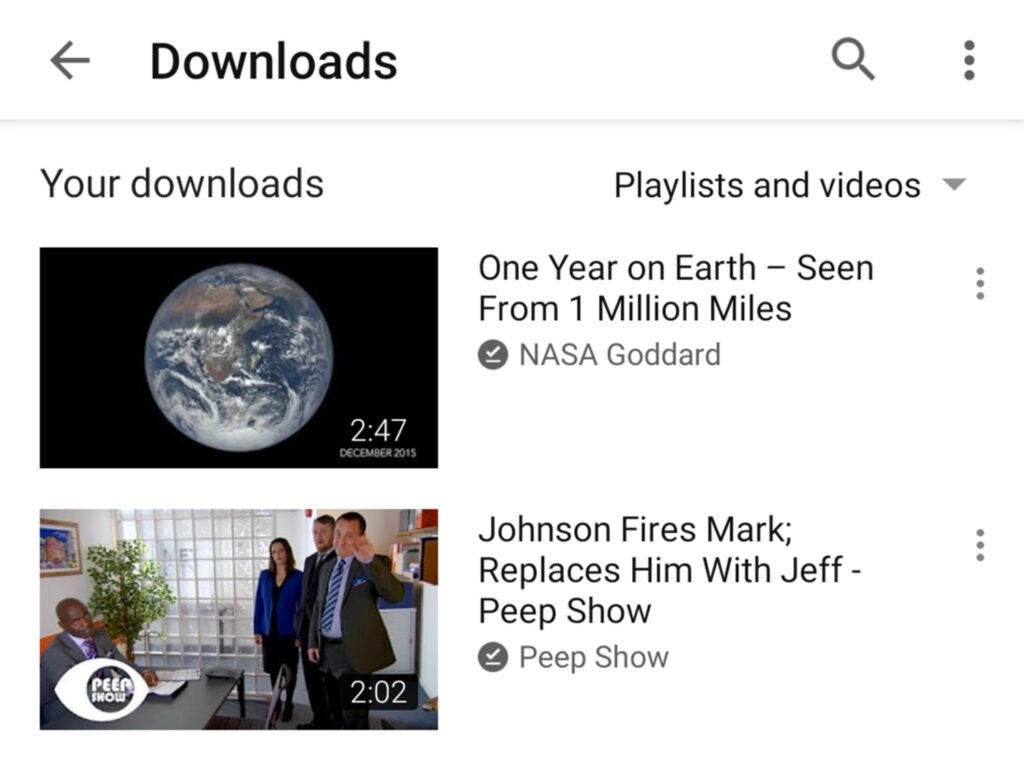 Screenshot of downloads on YouTube