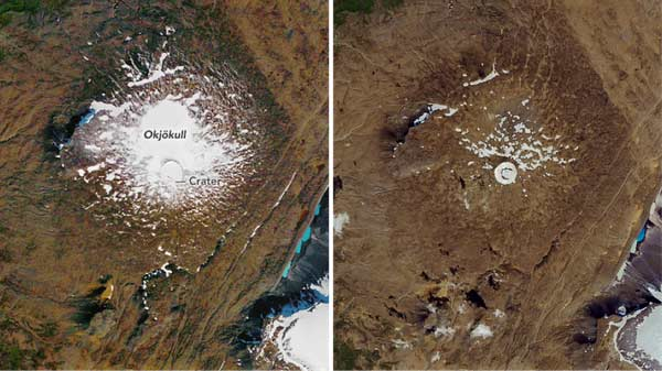 Okjokull glacier time comparison