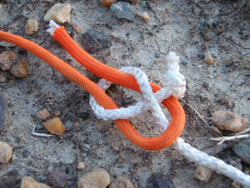 sheet bend knot with white and orange cord