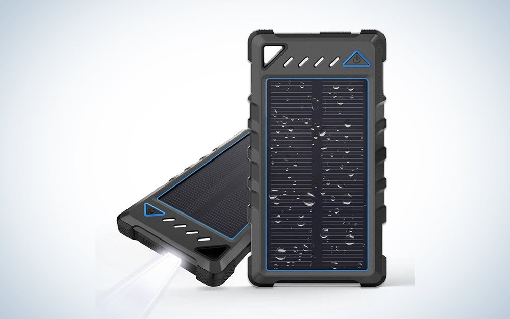 BEARTWO 10000mAh Portable Solar Charger, Ultra-Compact External Batteries with Dual USB Ports