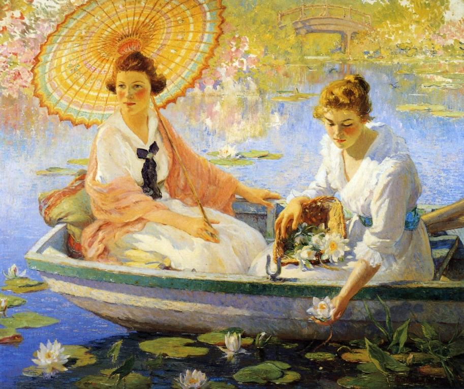 A woman holding a parasol in a boat in Colin Campbell Cooper's painting 'Summer'