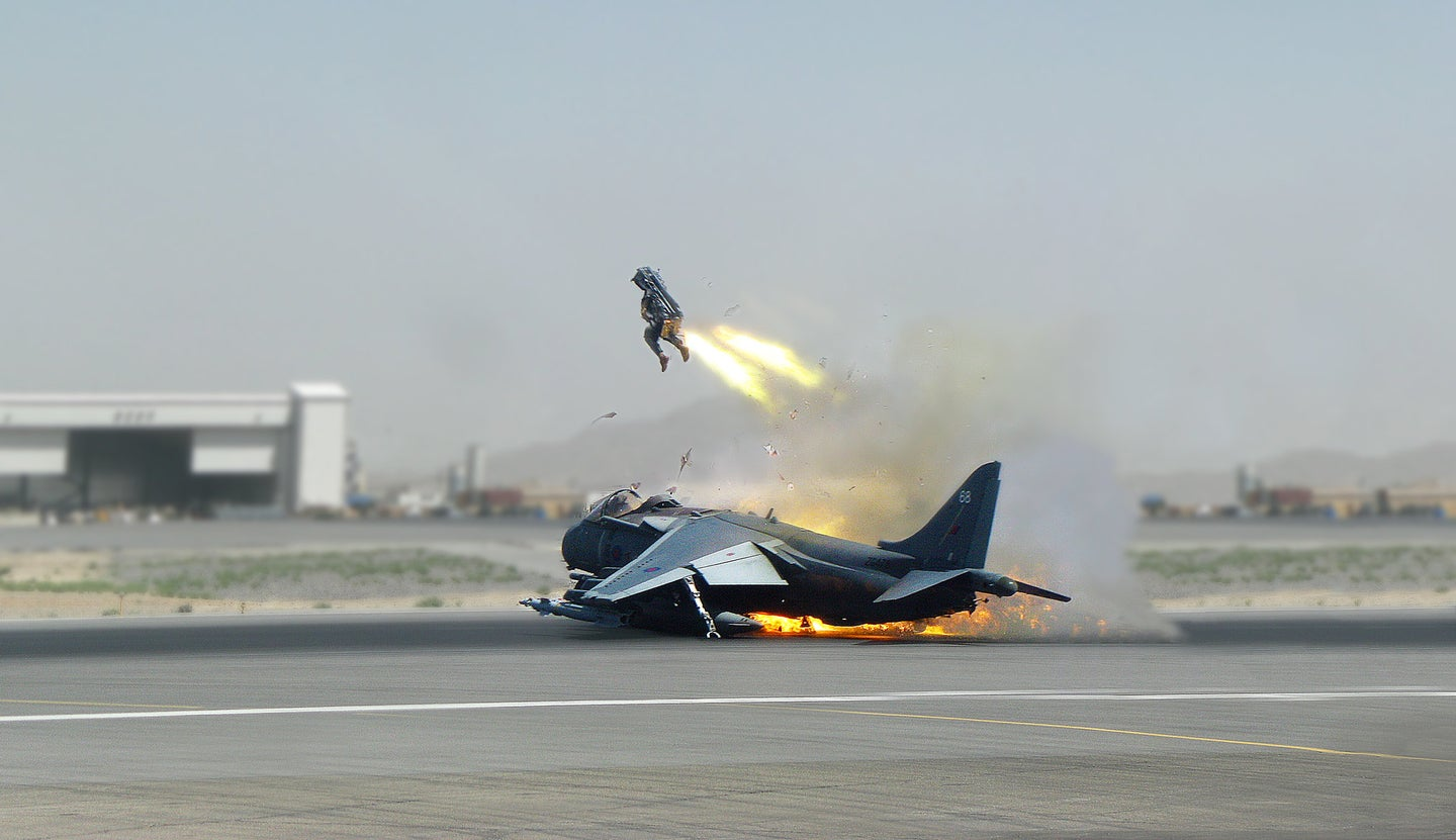 A pilot ejects from a Harrier jet