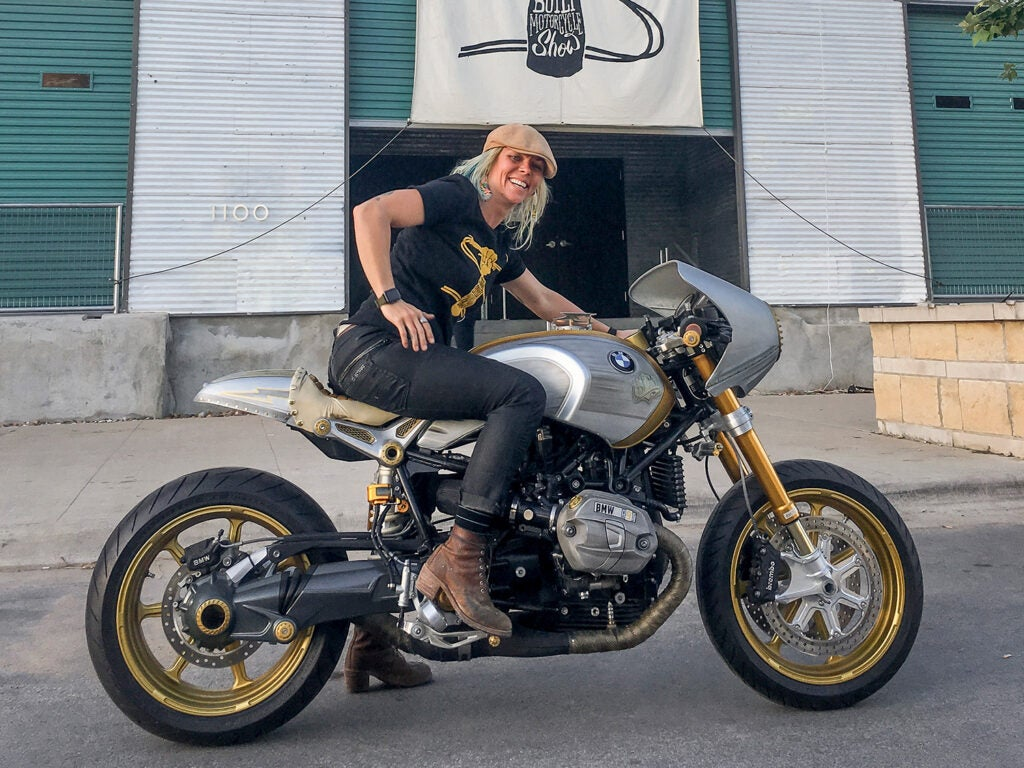 """A prolific builder and an accomplished racer, Combs was also an avid motorcyclist. Here's her BMW R nineT """"Real Deal"""" build at the Handbuilt Show in 2017."""
