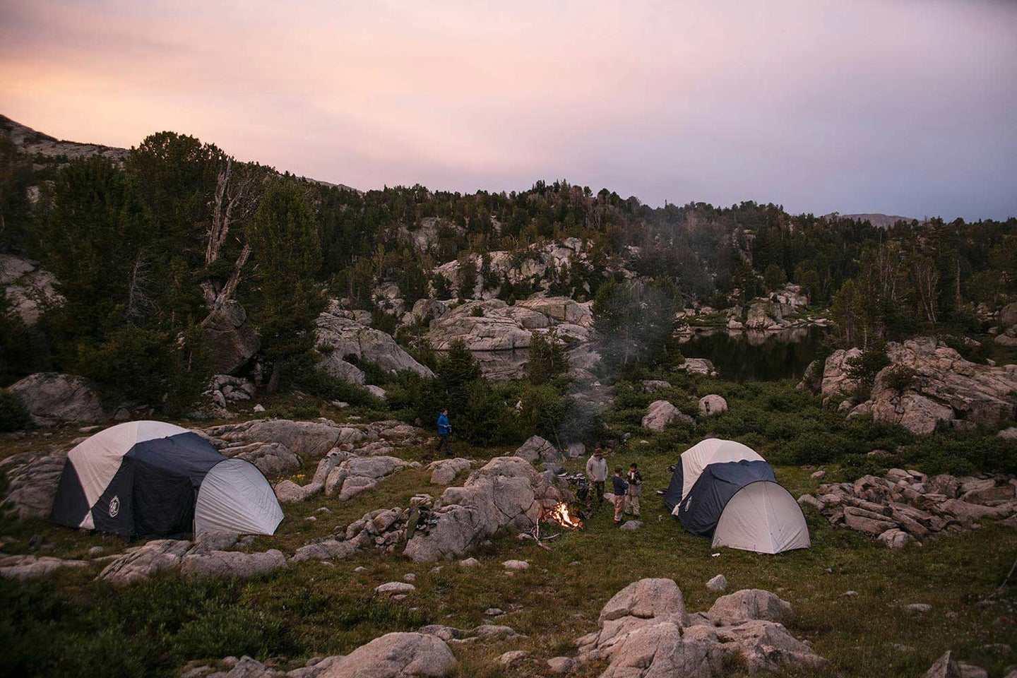 two camping tips at sunset