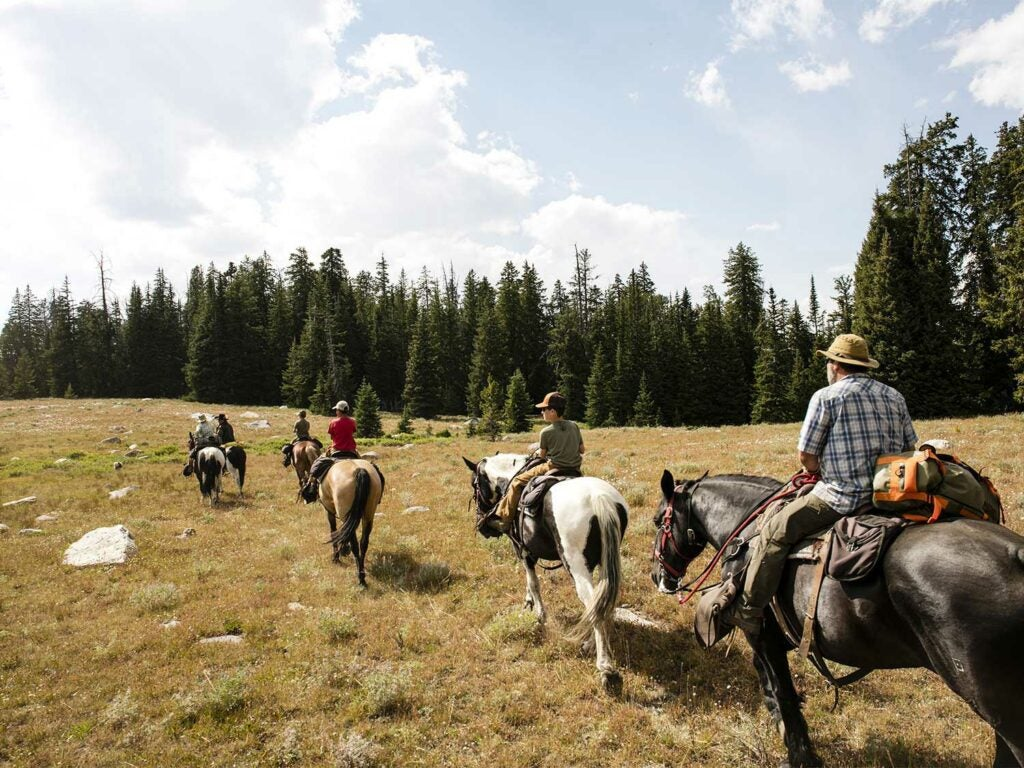 a group of people on horses