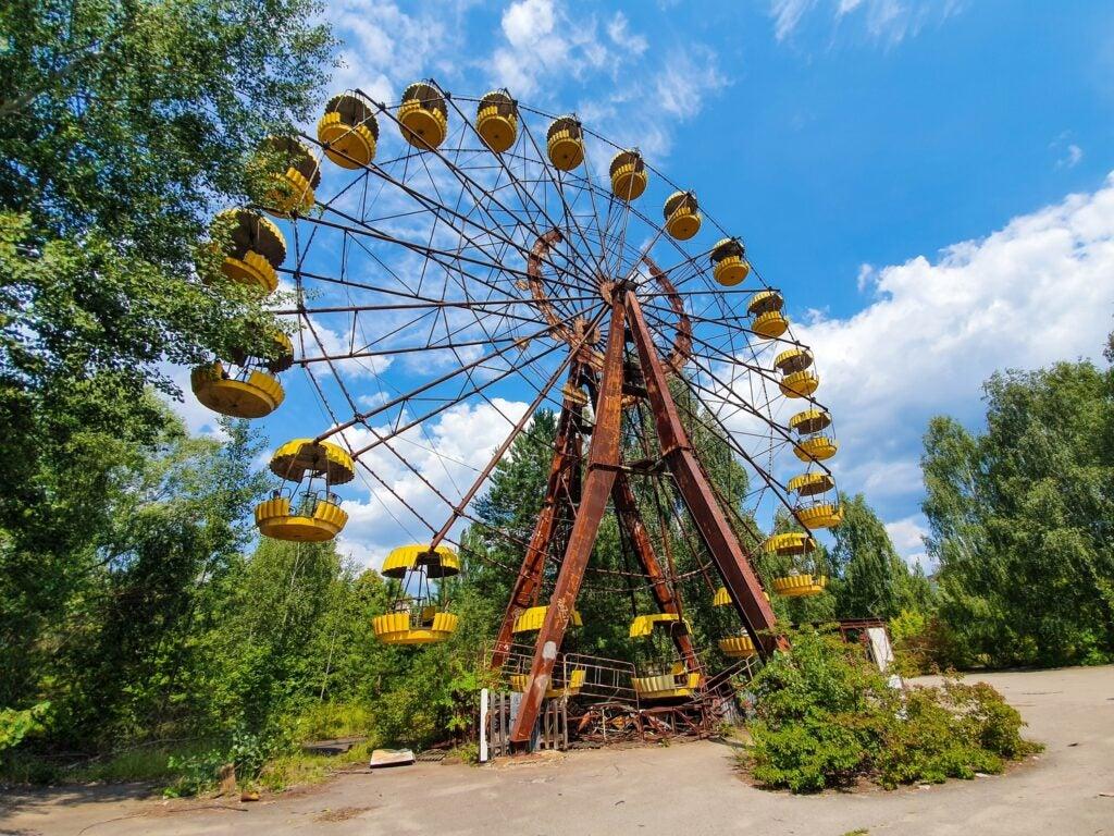 a ferris wheel in Pripyat, Ukraine, near Chernobyl
