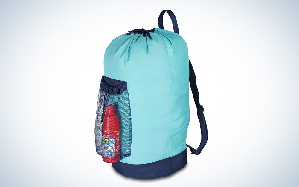 Laundry Backpack with Shoulder Straps and Mesh Pocket