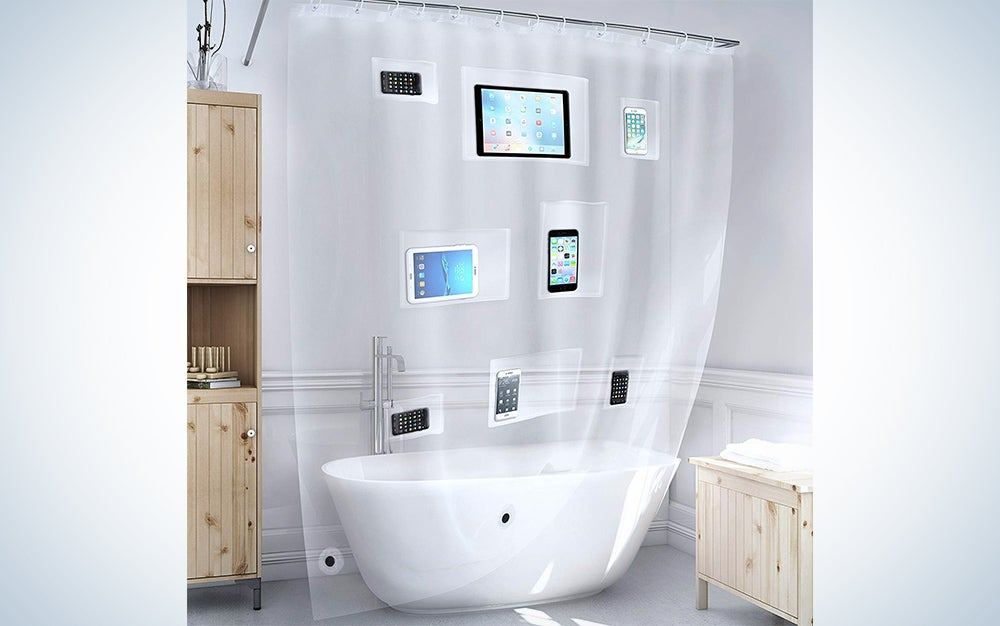 Bath Bliss Heavyweight PEVA Shower Liner with 5 Mesh Pockets, Tech, Tablets, iPads, Clear