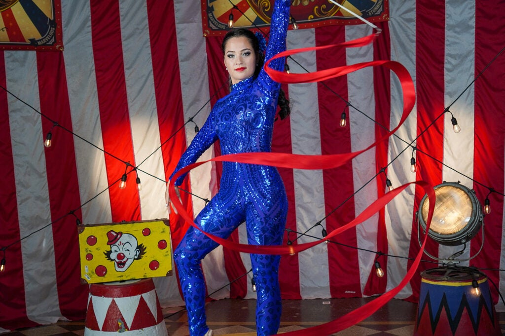 circus performer ribbon twirling