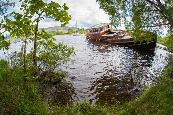 A submerged boat in Loch Ness