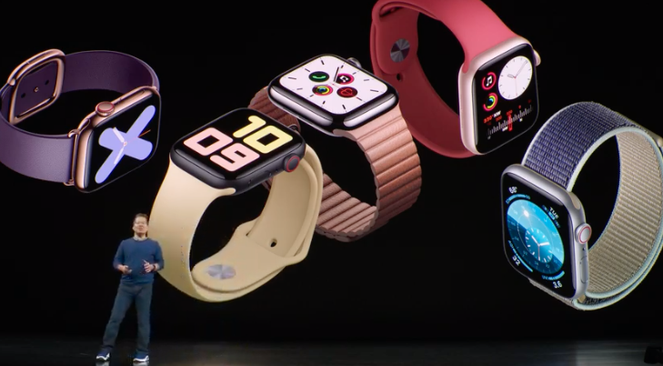 Different colored models from the Apple Watch Series 5