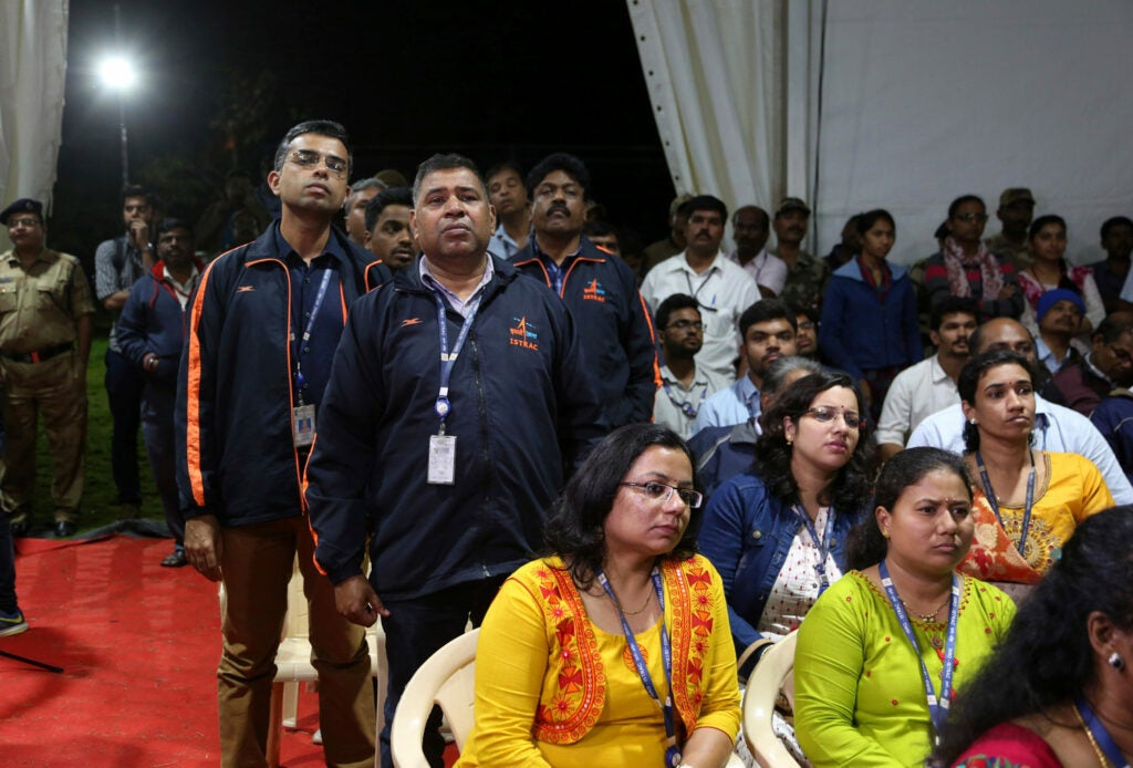 Employees from the Indian Space Research Organization looking disappointed