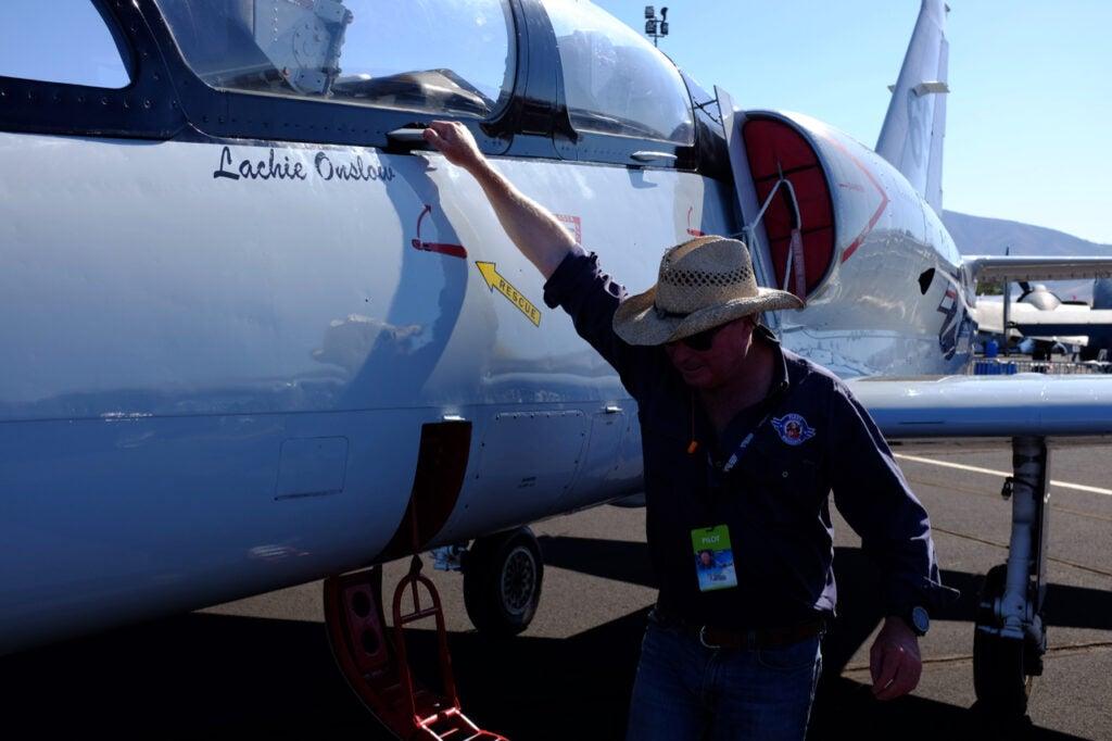 Pilot Lachie Onslow by an L-39 Albatross