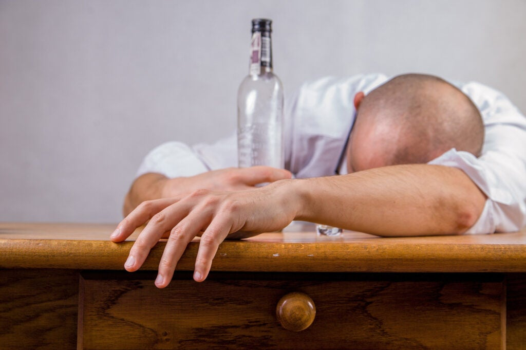 man sleeping after drinking