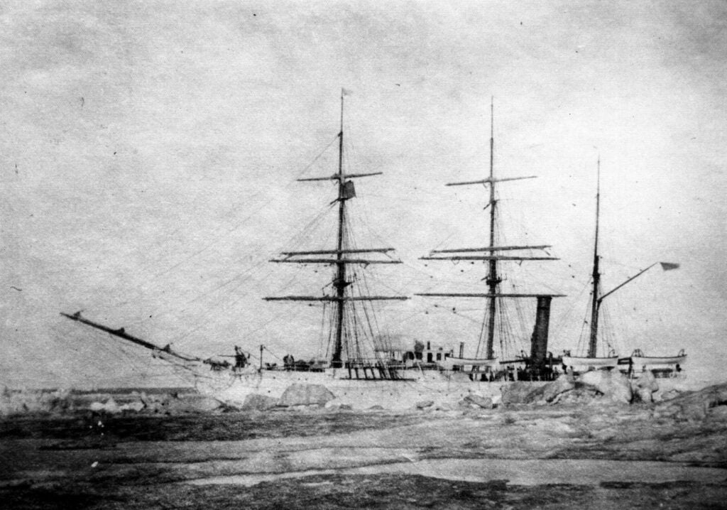 The cutter Thetis moored to sea ice in Alaska