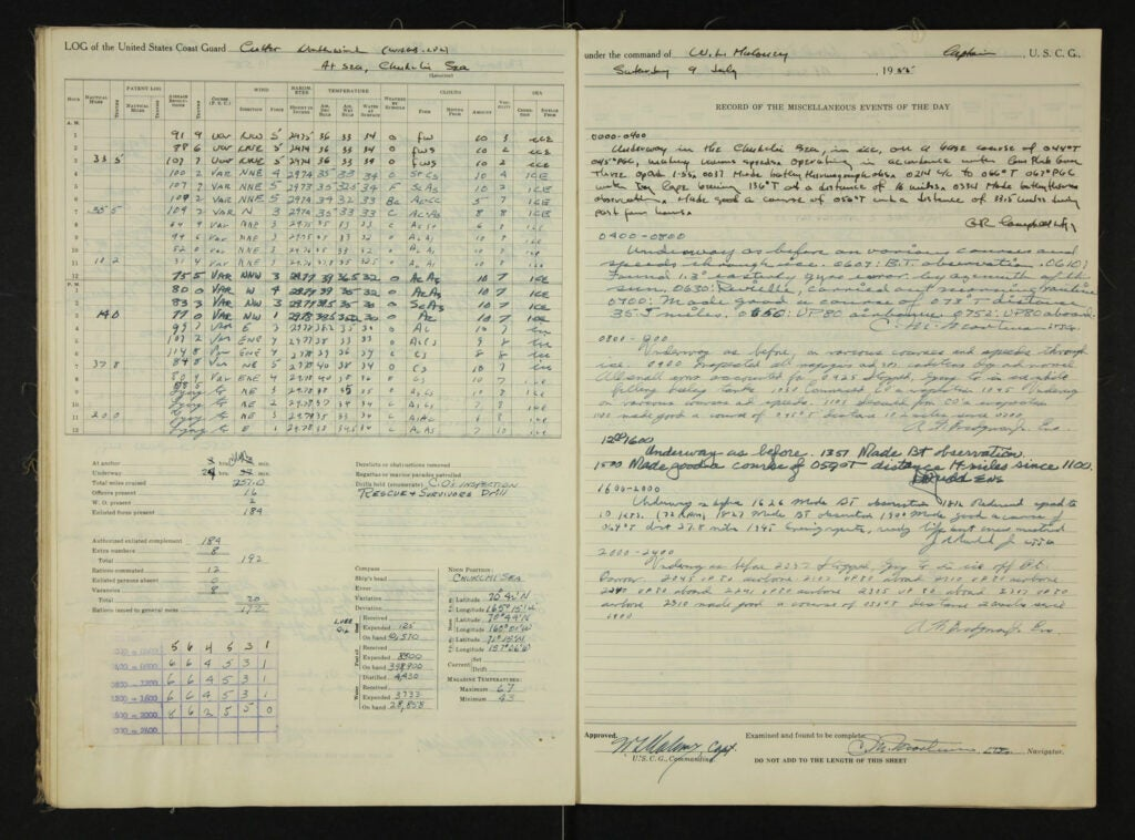 excerpt from the 1955 logbook of the cutter Northwind