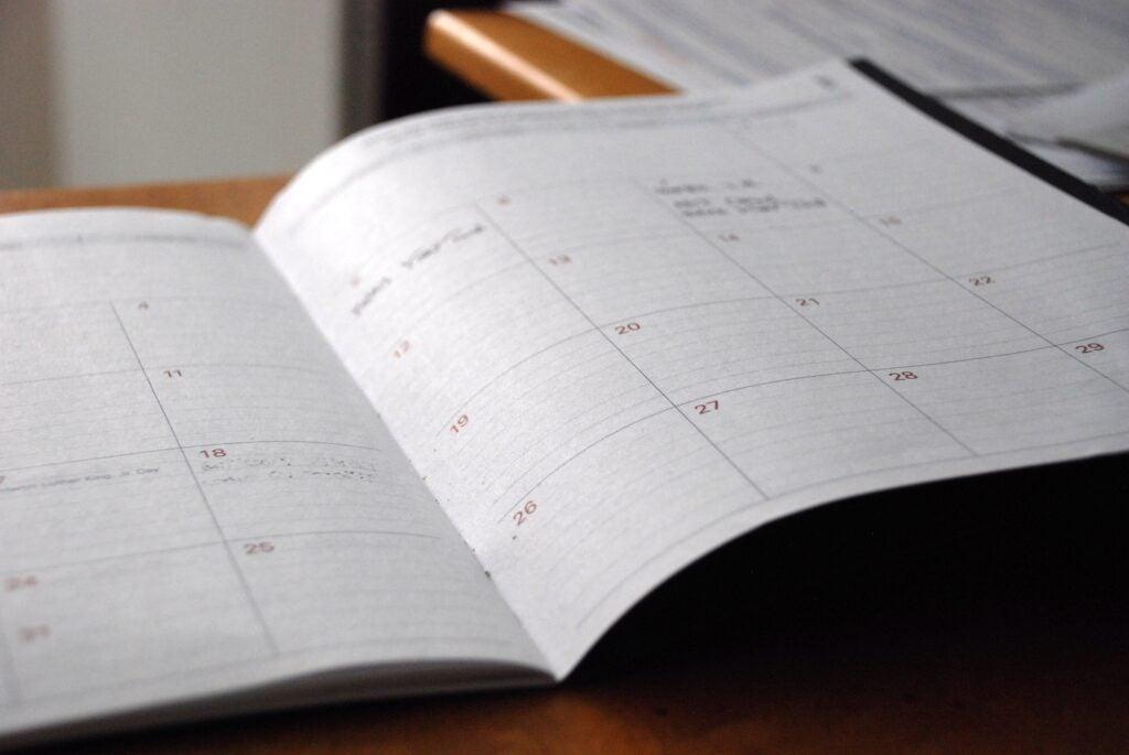 an open calendar or planner