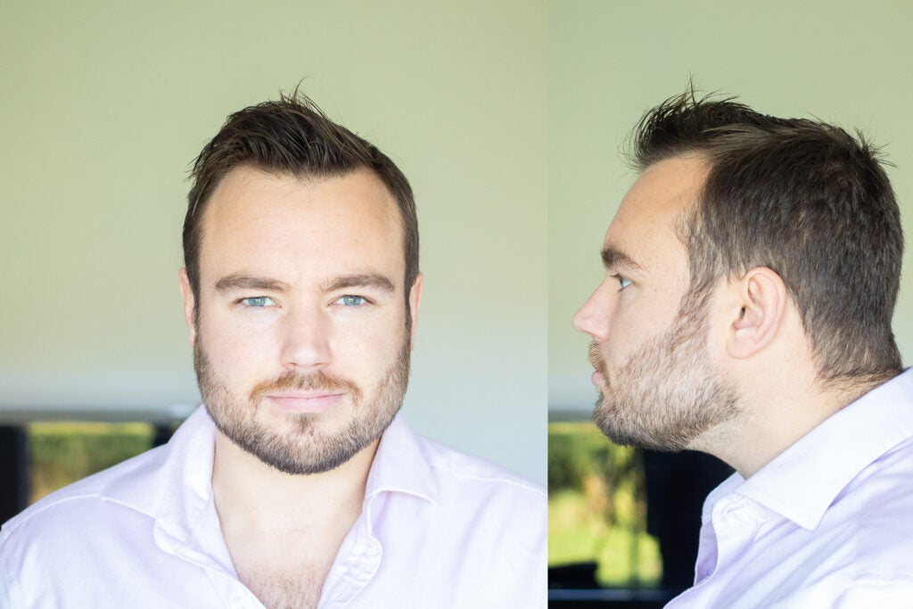 composition of frontal portrait of a man and lateral portrait of a man elongating the neck
