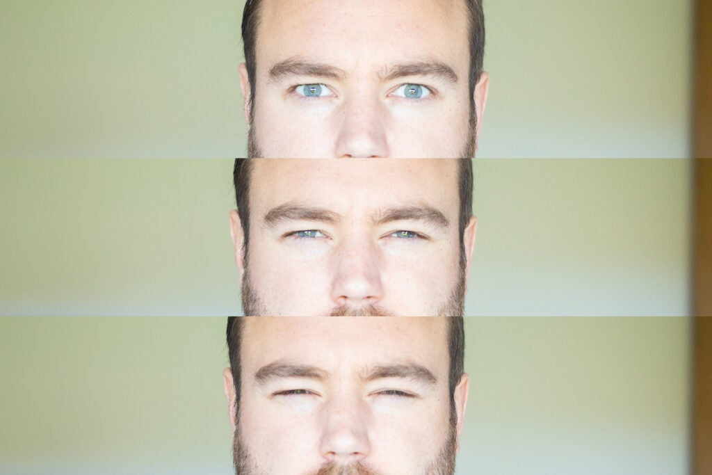 composition of eyes squinting eyes open normally and eyes squinting