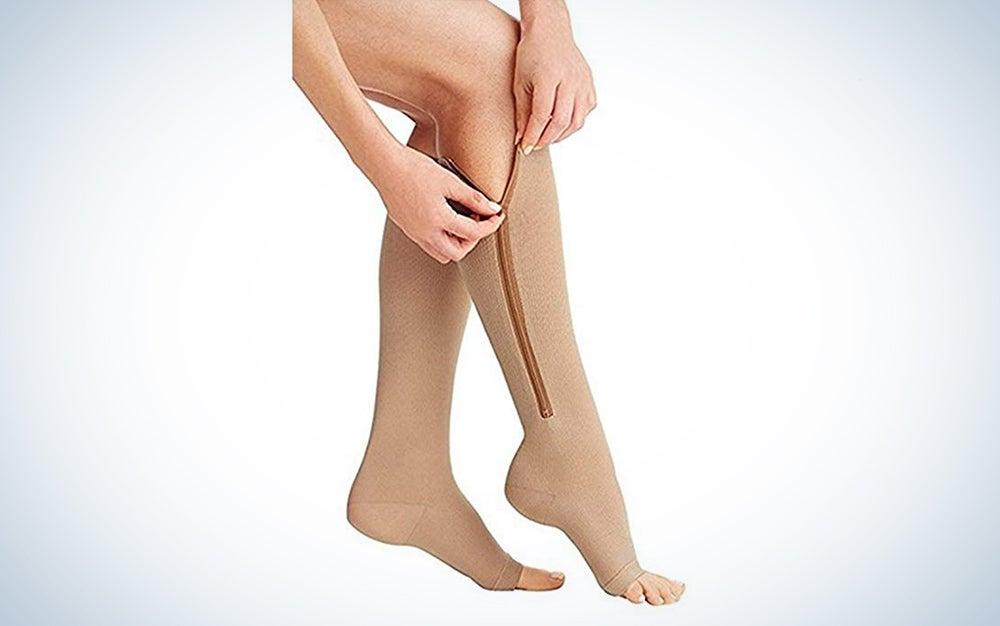 Zip Sox Socks Stretchy Zipper Leg Support