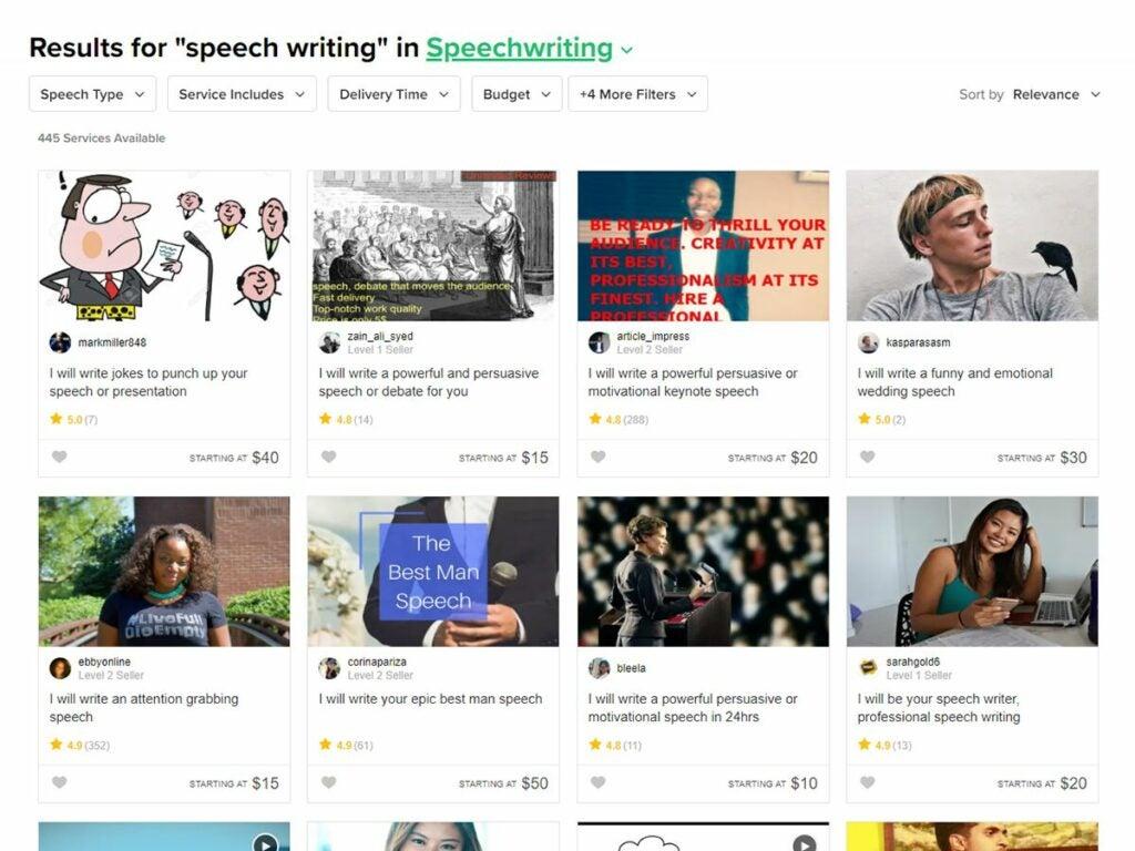 a screenshot of a Fiverr search for speech writers