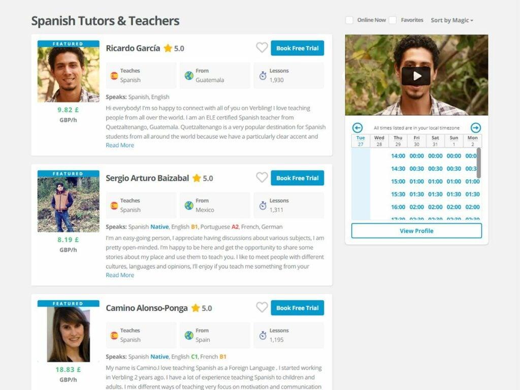 Verbling screenshot showing various language tutors