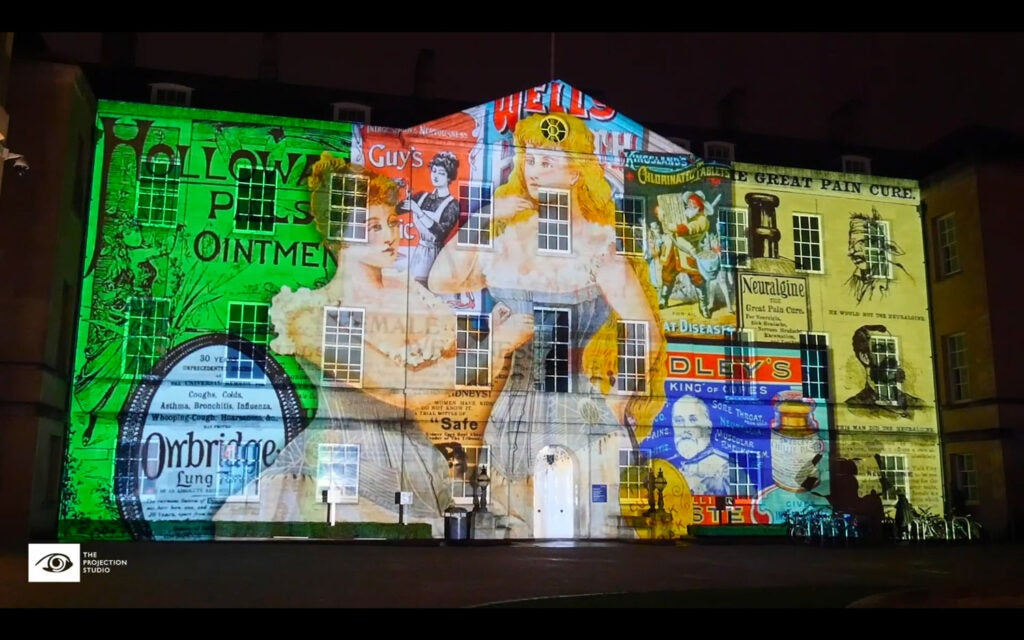 projected images on a building