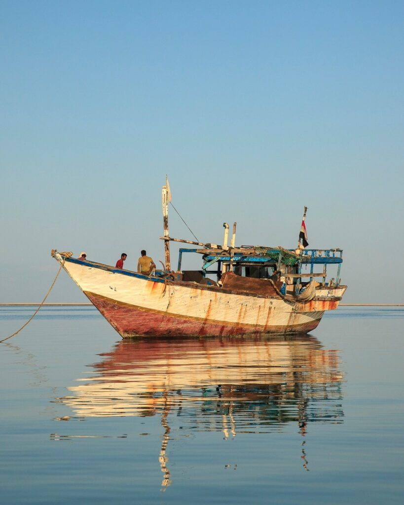 A small fishing boat on the Indian Ocean