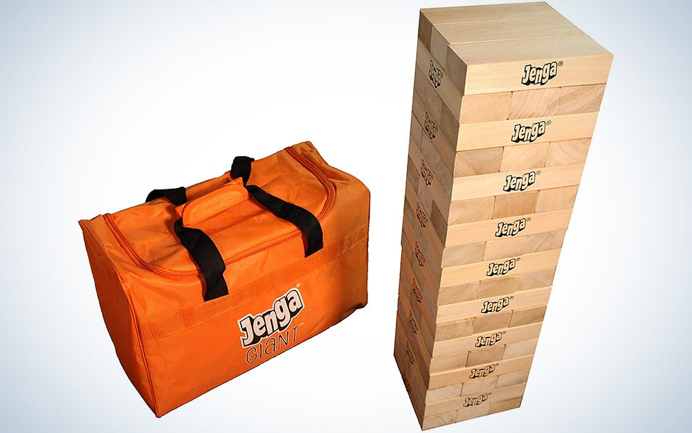Jenga Giant JS7 (Stacks to Over 5 feet) Precision-Crafted, Premium Hardwood Game with Heavy-Duty Carry Bag