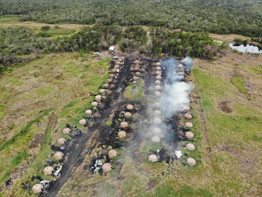 Kilns making charcoal in Paraguay's Chaco