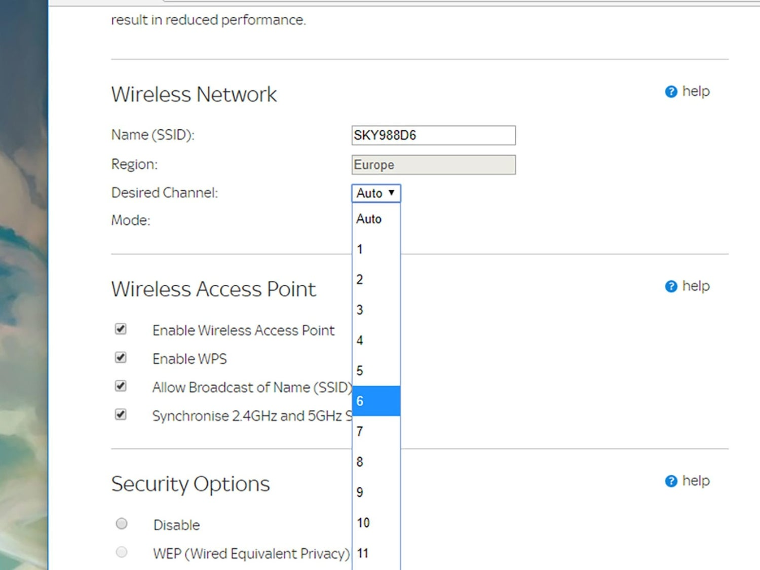 The options for changing your router's wireless channel.