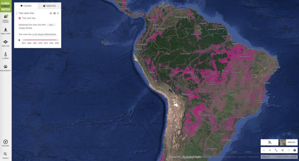 Map of deforestation in South America