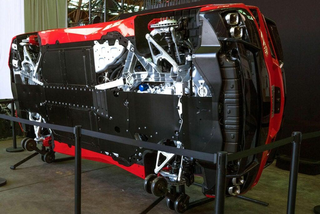Corvette C8 chassis bottom view