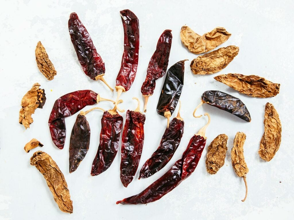 dried Mexican chiles of all sizes
