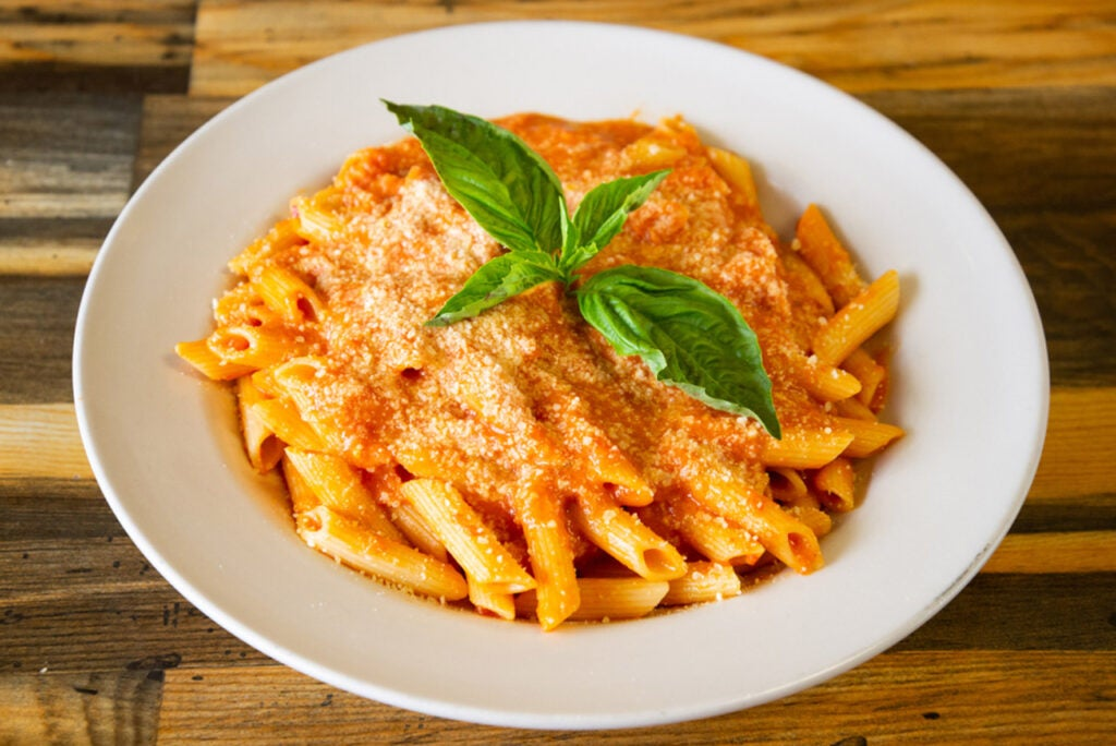 A plate of penne alla vodka