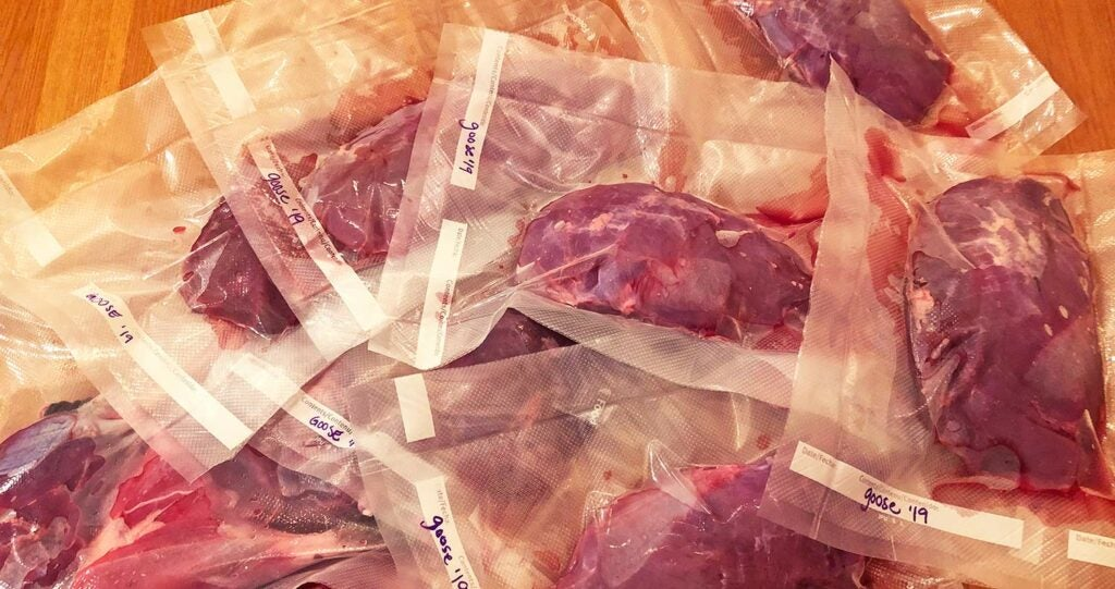 vacuum sealed goose breasts