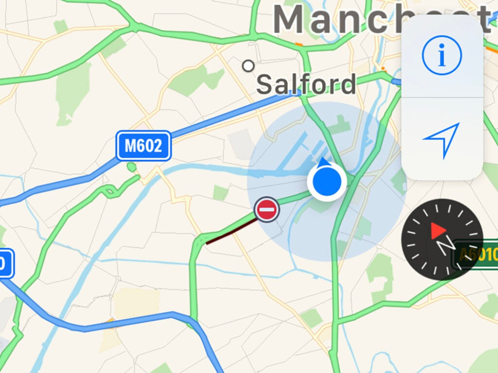 screenshot of apple maps showing the compass feature