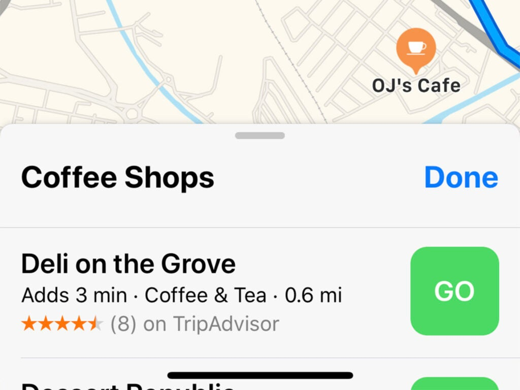 screenshot of apple maps showing en route options